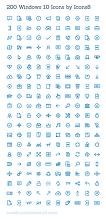 200종 윈도 10 벡터 아이콘 무료 다운로드, 섬세함과 활용도가 매력