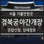서울 데이트 장소 추천, 나들이 경복궁 야간개장 예약신청 및 관람정보