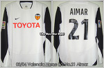 03/04 Valencia Home L/S No.21 Aimar Match Worn Shirt (Sold Out)