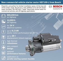 The new Bosch HEF109-L starter motor for commercial vehicles