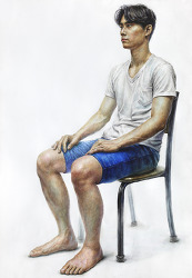 [인물·인체수채화 / 과정작] 흰색 반팔 티셔츠, 파란색 반바지를 입은 남성