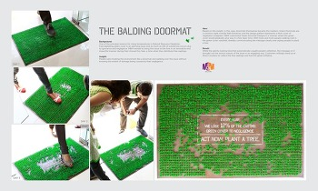 M&M : The Balding Doormat, 밟으면 밝을수록 지구의 녹색 지역이 손실된다는 도어 매트 공익 광고