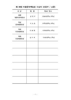제19회마을문학백일장.그림잔치 수상자 ~축하드립니다.^^