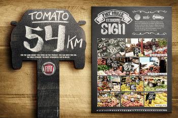 Fiat: Mille Economy Sign, 자동차의 연비를 식품 가격에 비유한 기발한 이탈리아 자동차 fiat의 오프라인 광고