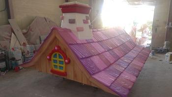 FRP지붕과 기둥 조형물작업