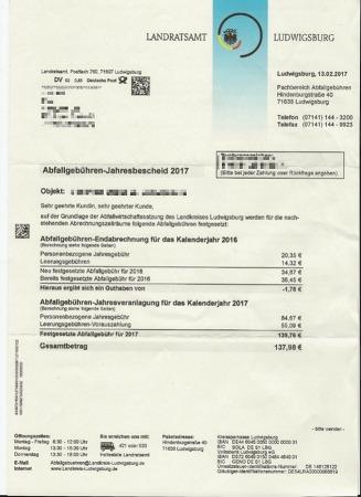 독일의 가정집 1년치 쓰레기 수거 비용