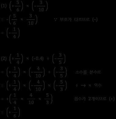 유리수의 곱셈과 나눗셈 예제 풀이