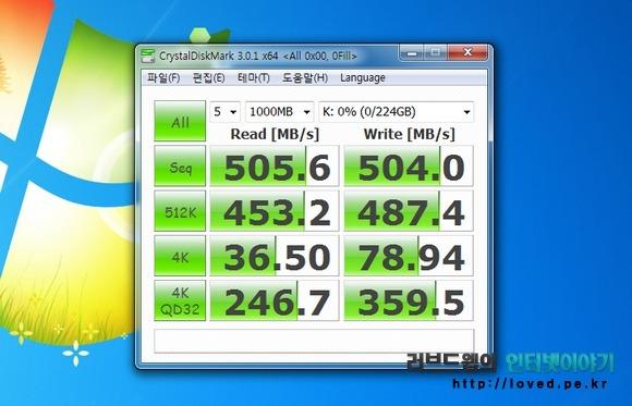샌디스크 익스트림 SSD 240GB 크리스탈 디스크 마크 0x00 벤치마크