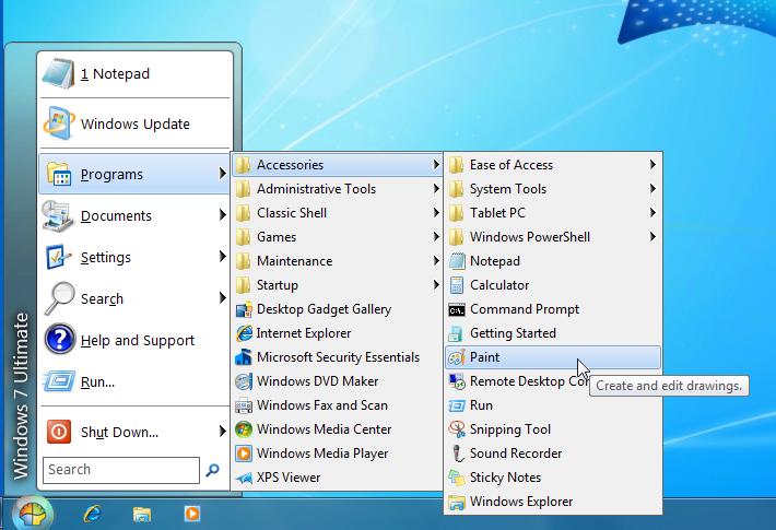 윈도 8에 시작 메뉴 설정한 화면