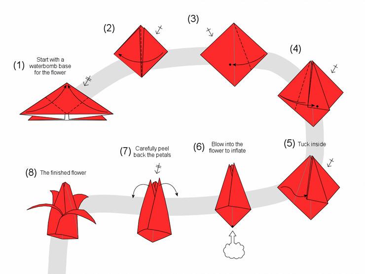 Тюльпаны из бумаги своими руками оригами схема фото 688