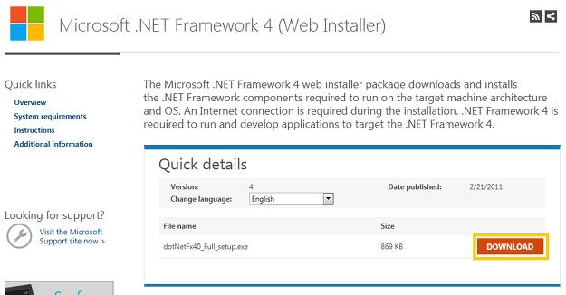 NET Famework4 다운로드 화면