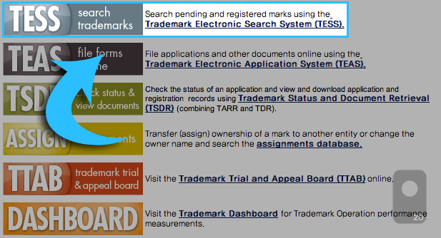 상표권등록 확인 (USPTO TESS Search trademarks)