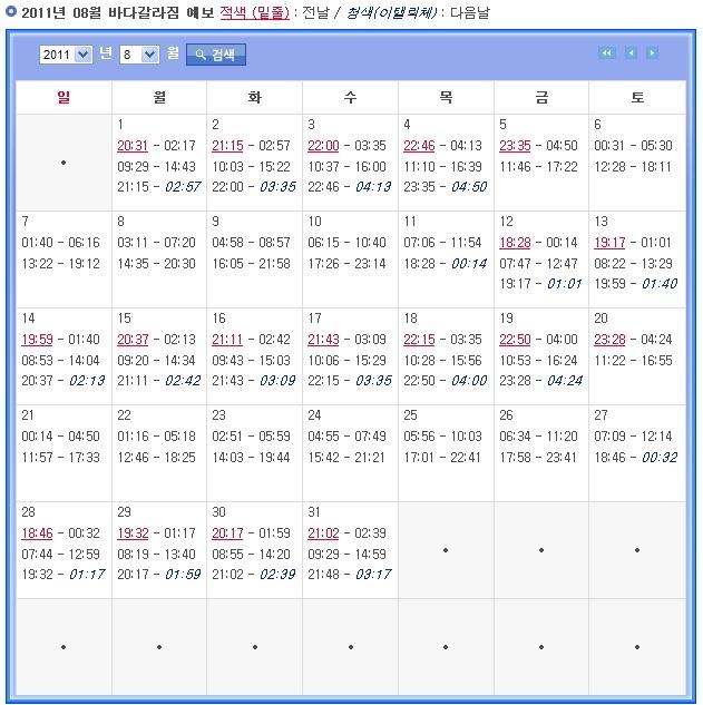 서해안 물때시간표-서해안 물때표