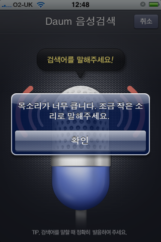 Input Too Loud Error in Daum Voice Search