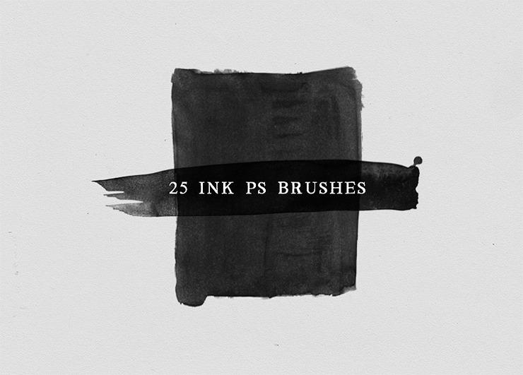 25 가지 수채화 물감과 잉크 포토샵 브러쉬 - 25 Free Ink Photoshop Brushes