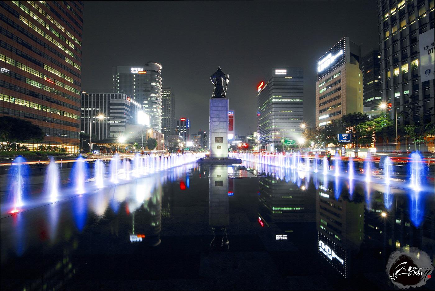 서울명소 캐논 7D 광화문광장분수 반영 야경