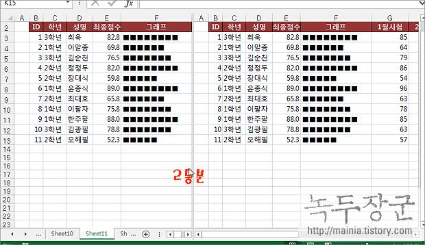 엑셀 Excel 워크시트 나누기 기능으로 한번에 여러 화면 보는 방법