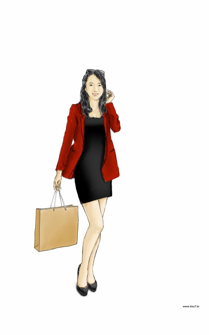 숙녀 여성 쇼핑 가방 행복한 만남 기쁨 미소 고매자 소비자 고객 레드 코드 블랙 원피스 종이가방 도시 스타일 관광객 - 무료이미지