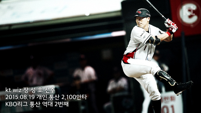 kt wiz 장성호 선수 2015년 8월 19일 개인 통산 2100안타