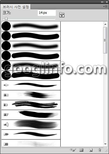 포토샵 CS5 강좌, 브러시 사전 설정 패널,             Brush Presets panel