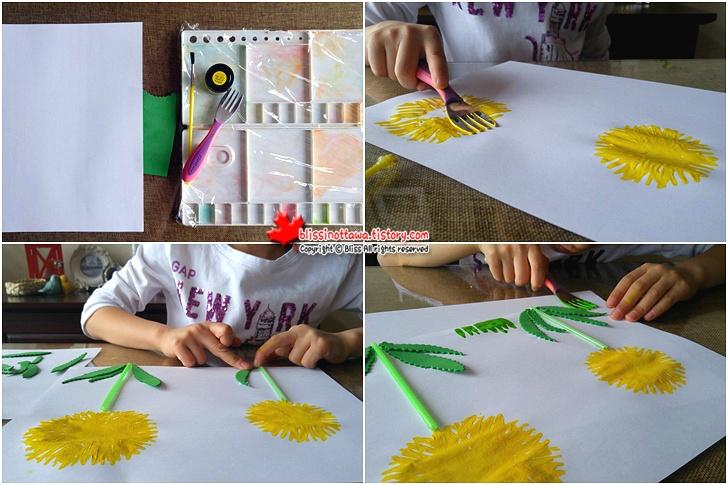엄마표 유아 미술놀이 포크로 민들레를 그리다