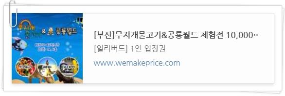 부산 무지개 물고기 공룡월드 위메프