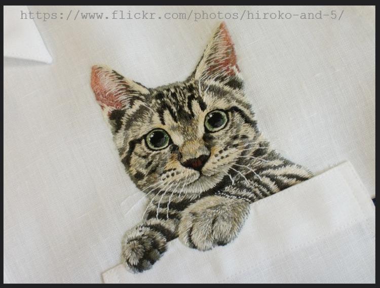Вышивка на кармане кот схема