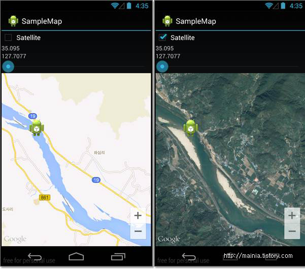 안드로이드(Android) 체크옵션을 사용하여 일반맵에서 위성맵으로 변경하기