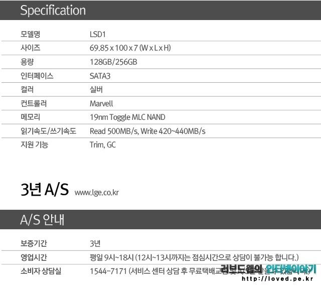 LG전자 SSD LSD1 128GB 제품 스펙 및 주요 사양
