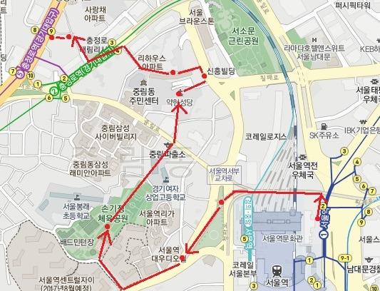 서울로 7017 도보관광코스 지도