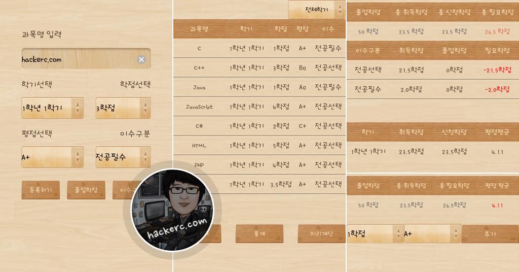 학점계산기 for Android - 대학 성적, 졸업이수학점 계산 앱(어플)