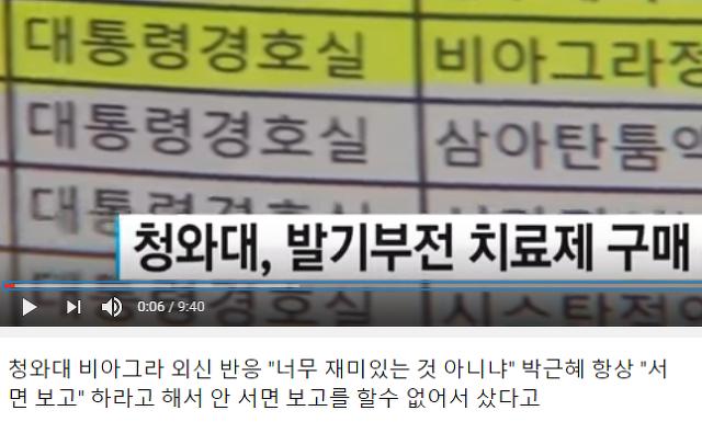청와대 비아그라와 박근혜의 서면 보고