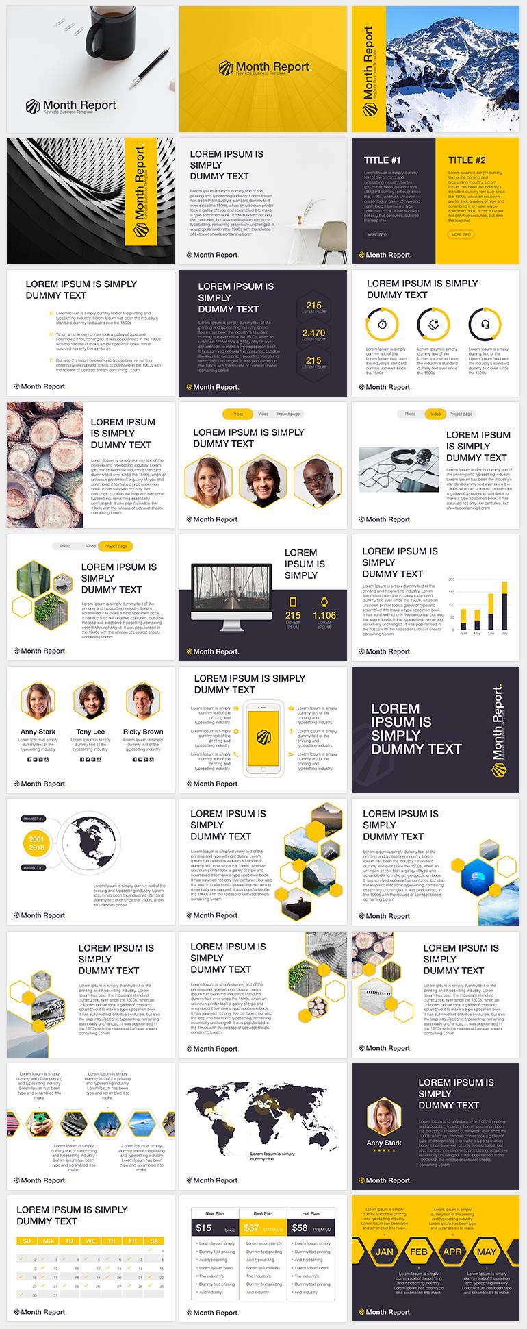 옐로우 컬러를 포인트로 사용한 PPT 템플릿 - Free Yellow & Grey PowerPoint Template For Month Report