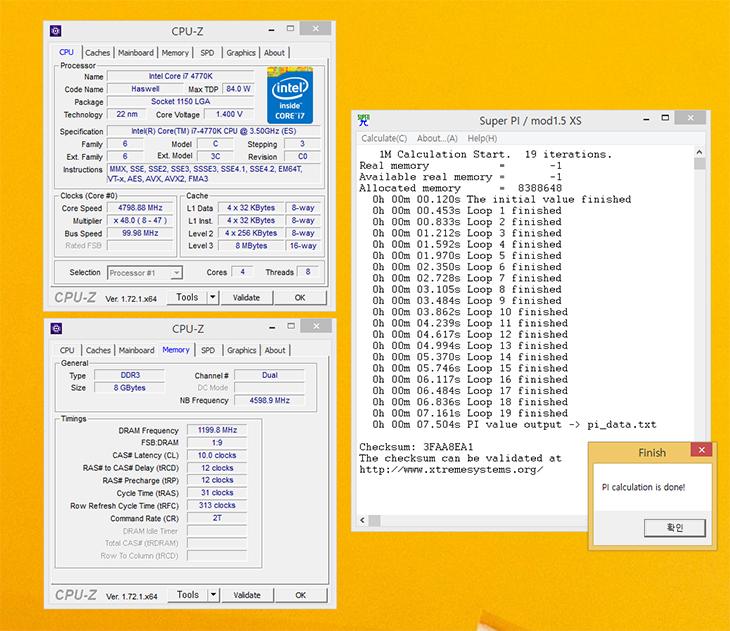 기가바이트 ,메인보드, Z97X GAMING GT ,오버클러킹, i7-4770K,IT,IT 제품리뷰,후기,사용기,기가바이트 메인보드 Z97X GAMING GT 오버클러킹을 간단히 해보기로 했습니다. CPU는 i7-4770K을 이용했습니다. 약간 일반 상황과는 다를 수 는 있습니다. CPU가 ES버전이기 때문이죠. 오버클러킹이 조금은 더 잘되는 상태이긴 합니다. 더운 여름날 땀흘리며 기가바이트 메인보드 Z97X GAMING GT 오버클러킹을 한다는것은 쉬운일은 아니더군요. 공냉쿨러나 수냉쿨러나 둘다 마찬가지이지만 상온보다 더 낮은 온도를 만들기는 힘듭니다. 더운 여름날 그것도 제일 더운 제방에서 오버클러킹을 해보려고 하니 생각보단 힘들더군요. 오버클러킹은 온도와 깊은 연관이 있습니다. 기가바이트 메인보드 Z97X GAMING GT 는 오버클러킹도 가능하고 게이밍에서도 상당히 좋은 성능을 내는 메인보드 입니다. 요즘은 오버클러킹도 참 쉽습니다. 생각보다 쉽게 오버클러킹이 가능하죠. 과거에는 게이밍 본체에 4.3GHz 까지 오버클러킹을 하고 게이밍이다 하면서 좀 더 비싼 모델들도 있었는데요. 요즘은 4.3GHz 정도는 오버도 아니죠. 4.5GHz 정도까지는 아예 메뉴가 있어서 버튼만 누르면 오버가 됩니다.근데 오버클러킹을 계속 해보다 보면 4.5GHz는 너무 쉽다는 것을 알것입니다. i7-4770K를 테스트 해보니 4.7GHz 까지는 너무 쉽게 올라가며, 4.9GHz와 5GHz는 조금 신경 써서 올려야하는 정도임을 알 수 있습니다. 물론 테스트한 CPU가 ES 버전이므로 실제 제품들을 안정적으로 오버클러킹을 하려면 4.6GHz ~ 4.7GHz 정도일것이라고 생각합니다. 물론 기가바이트의 OC버전 메인보드를 쓰면 좀 더 쉽게 5.2GHz 도 공냉으로도 찍을 수 있을 것입니다. 실제 유튜브에 찾아보면 그런 샘플들이 많습니다.