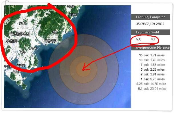 핵폭탄 피해범위 시뮬레이터