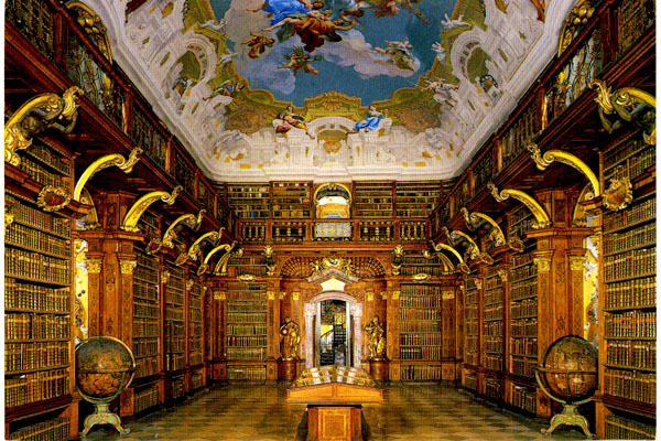 오스트리아의 멜크(Melk) 수도원의 도서관. 10만여권의 장서를 보관하고 있다.