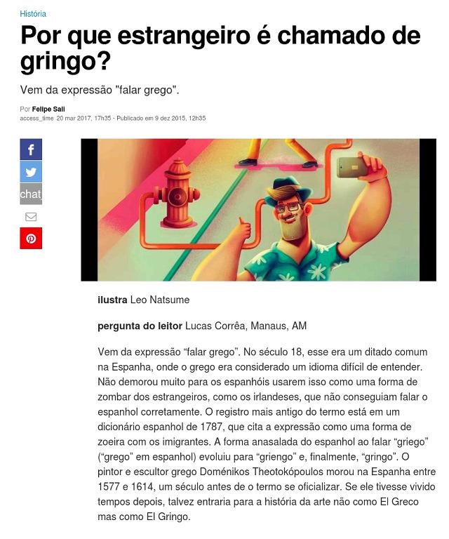 [포르투갈어 번역 연습] Por que estrangeiro é chamado do gringo?