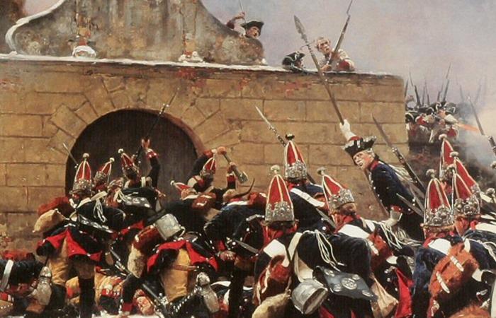 사진: 7년 전쟁을 그린 그림. 뤼헨 지방에서의 요새 공성전을 표현하고 있다. 프로이센-영국 등이 한편을 이루고 오스트리아-프랑스-러시아 등이 한편을 이룬 유럽판 세계대전이다. [7년 전쟁의 과정과 원작 소설 배경]