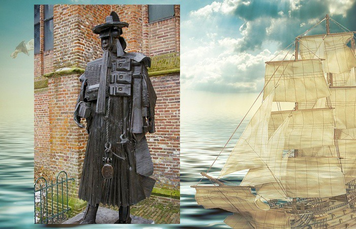 사진: 박연. 네덜란드 현지에 박연의 고향에는 무사복을 입은 동상이 있다. 박연은 훈련도감에서 근무하는 무관이었으므로 조선의 무관복을 표현한 작품이다. [박연과 하멜이 오기 전의 조선]