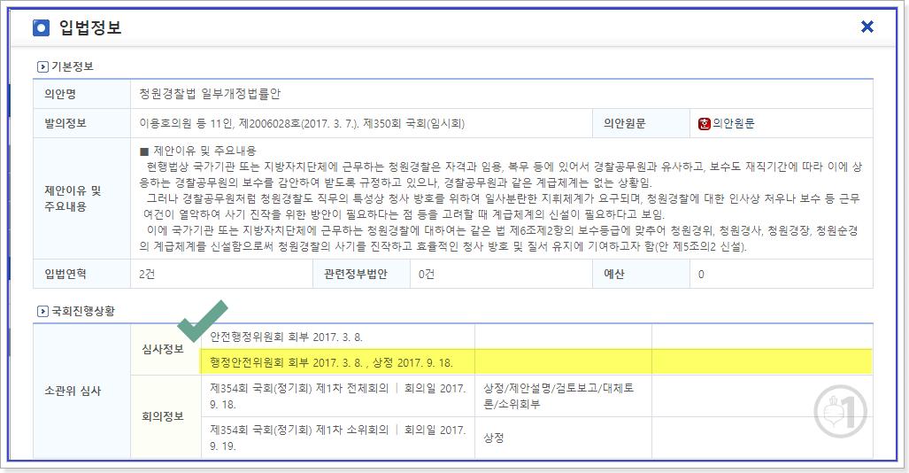 청원경찰법 행정안정위원회 9.18. 상정
