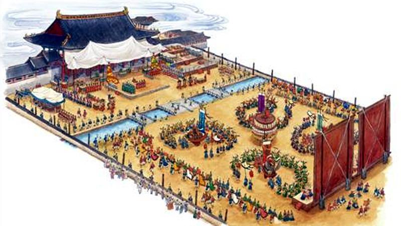 사진: 고려시대 팔관회의 상상도. 국제적인 축제를 했었다.