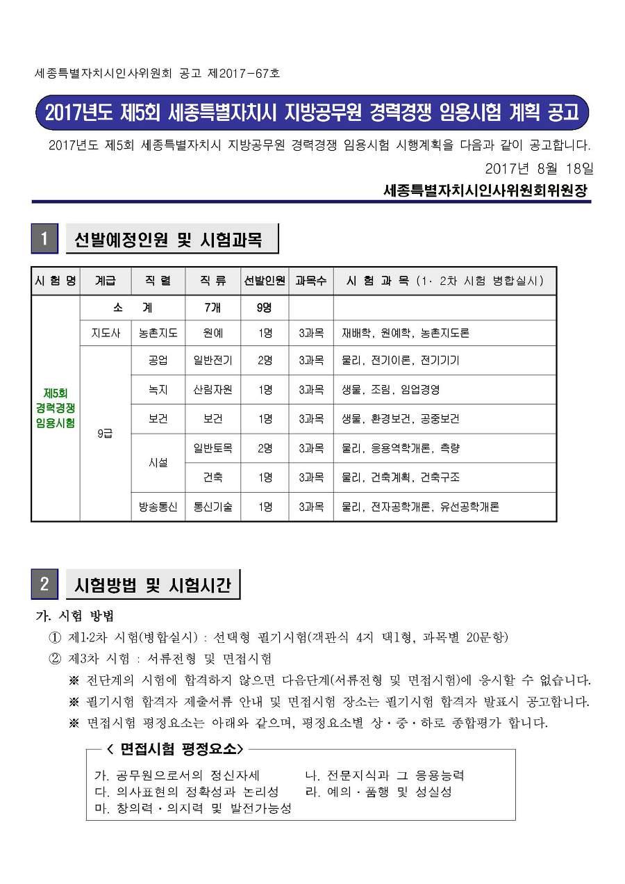 2017 제5회 세종시 지방공무원 경력경쟁 임용시험 계획 공고(기술직)(~9.21)