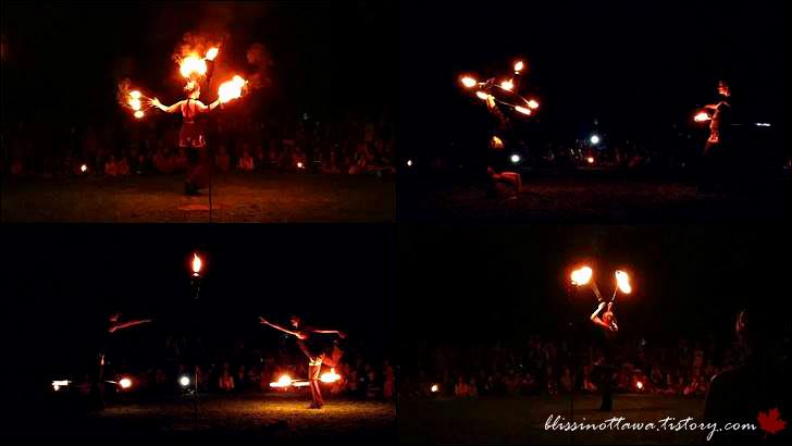불 붙은 훌라후프 쇼입니다