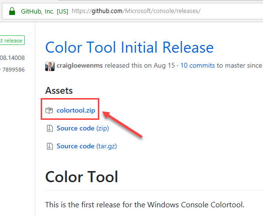 Github 페이지에서 Color Tool을 받고 압축을 해제합니다.